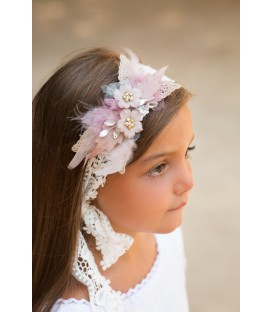 Tocado de cinta de guipur y flores de porcelana Carmen Rose
